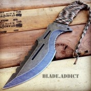 "12"" STONEWASH TACTICAL SURVIVAL RAMBO FULL TANG FIXED BLADE KNIFE HUNTING BOWIE"