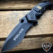 "8.25"" Black POLICE Spring Assisted Open Tactical Rescue Folding Pocket Knife NEW"