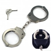 Heavy Duty Security Handcuffs Silver Chrome Steel Double Lock With Case