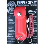 POLICE MAGNUM MACE PEPPER SPRAY 1/2oz RED KEYCHAIN HOLSTER & RED POCKET KNIFE