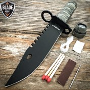 "9"" Tactical Hunting Rambo Combat Fixed Blade Knife Military Bowie + Survival Kit"