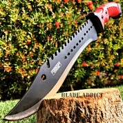 "16"" TACTICAL HUNTING SURVIVAL RAMBO FIXED BLADE MACHETE KNIFE Camping RED Sword"
