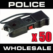 (50) POLICE 55,000,000 Heavy Duty Stun Gun With Flashlight And Police Siren Rechargeable- Wholesale Lot