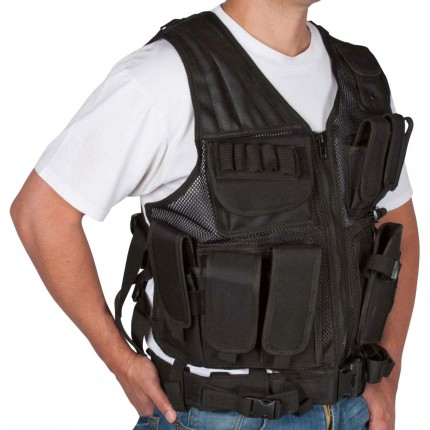 Modern Warrior Tactical Vest with Holster and Pouches BLACK