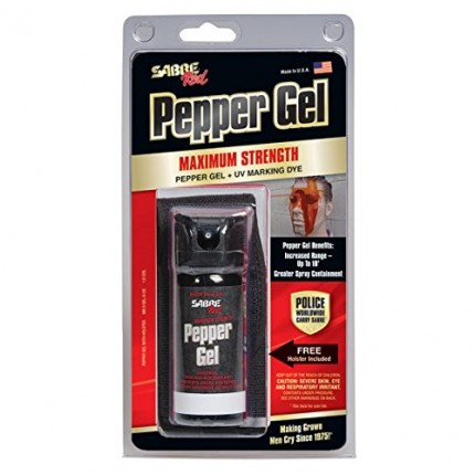 SABRE RED Pepper Gel - Professional Size with Flip Top, Belt Holster & 18' Range