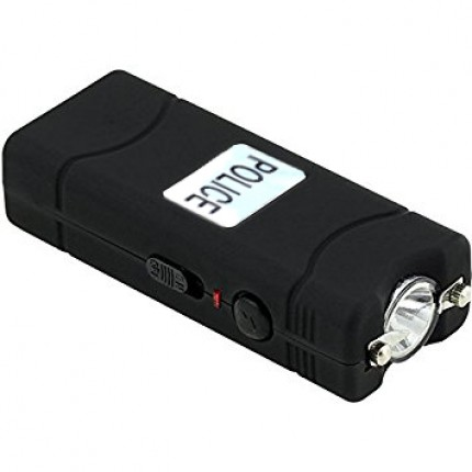 POLICE 100,000,000 Micro Stun Gun - Rechargeable With LED Flashlight (Black)