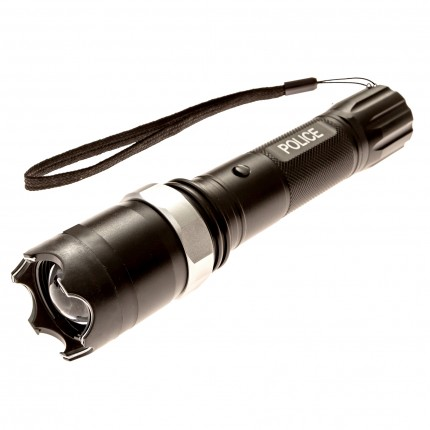 Police T10 - 230,000,000 Metal Heavy Duty Stun Gun - Rechargeable With 3 Modes Adjustable Focus Super Bright LED Flashlight